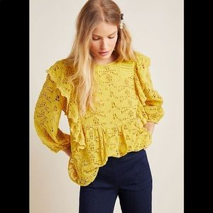 Anthropologie Maeve Clementine Yellow Lace Blouse